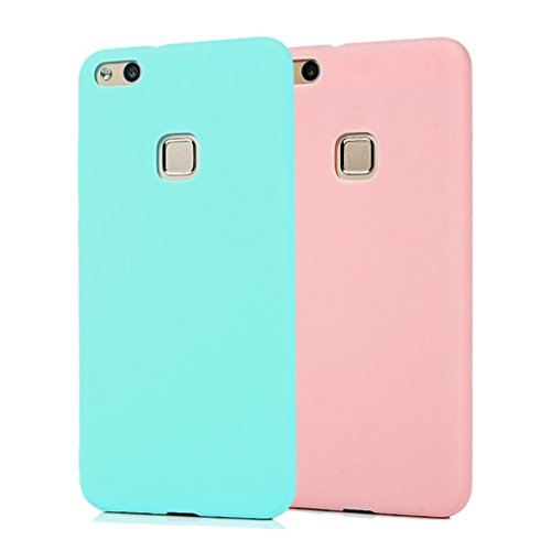 Funda HuaWei P10 Lite, 2Unidades Carcasa HuaWei P10 Lite Silicona Gel, OUJD Mate Case Ultra Delgado TPU Goma Flexible Cover para HuaWei P10 Lite - Cielo azul + rosa
