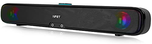 NPET CS30 Computer Speaker, Wired Computer Sound Bar, Stereo USB Powered Mini Soundbar Speaker Colorful RGB Light and Easy-Access Volume Control for PC Tablets Desktop Cellphone Laptop, Black