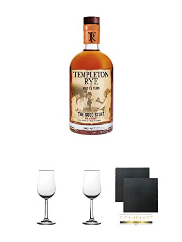 Templeton Small Batch Rye 6 Jahre 45,75% Whisky 0,7 Liter + Nosing Gläser Kelchglas Bugatti 2 Stück + Schiefer Glasuntersetzer 2 Stück