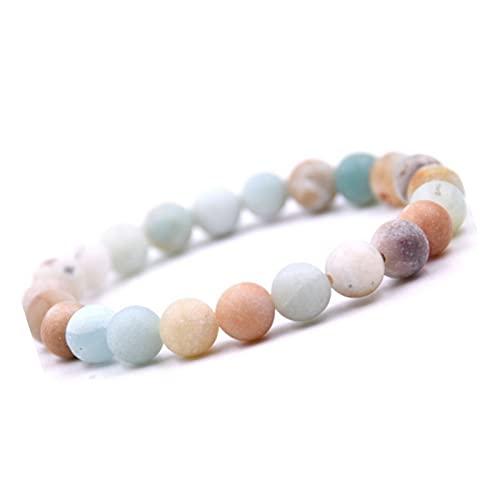 Unique Pulsera de Perlas Piedras Amazonita 8mm Pulsera piedras curativas energía Chakra Buda Calidad de Joyero
