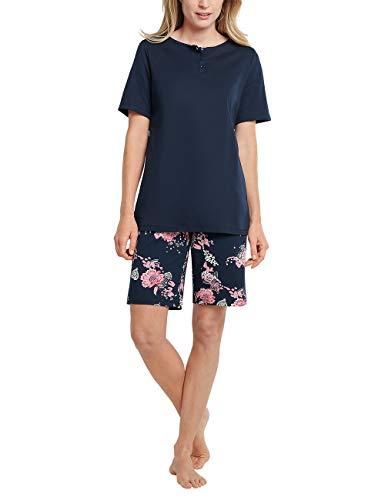 Schiesser Damen Schlafanzug kurz 1/2 Arm Oberteil und Bermuda Hose Pyjamaset, Nachtblau, 38