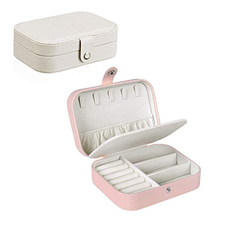 2 Pack Mini Woman Jewelry Storage Box, Earrings Rings Necklaces Case, Two-Layer Lint Super Functional Portable Travel Jewelry Box Organizer, Best Gifts for Girls and Ladies