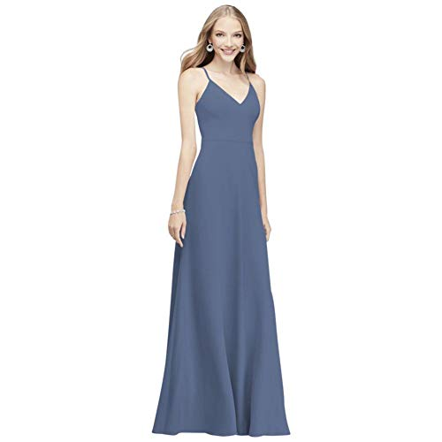 David's Bridal Chiffon V-Neck Spaghetti Strap Bridesmaid Dress Style F19935, Steel Blue, 14