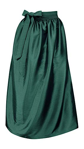 Schürze für Dirndl Trachtenschürze Trachtenkleid Dirndlkleid Dirndlschürze Taftschürze Trachtenmode einfärbig uni Taft grün pink rot rosa blau schwarz Glanz apron, Größe:L = 40 42 44, Farbe:tanne