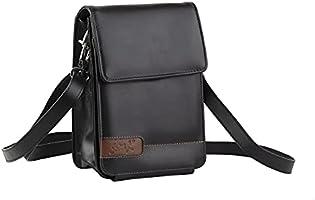 Seven K Genuine Leather Front-Logo Flap-Closure Detachable Shoulder Strap Crossbody Bag for Men - Black