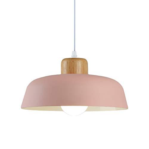HJXDtech Luz Colgante de Metal Redonda Simple Moderna nórdica,Lámpara de Techo Grande con Acabado de Madera E27 para salón de Dormitorio de Cocina (Rosado)
