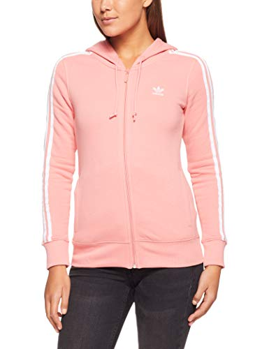 adidas Damen 3-Stripes Kapuzenjacke, Tactile Rose, 34
