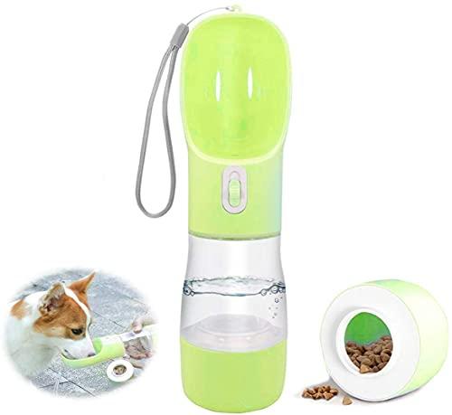 Botella de agua para perro de 350 ml botella de viaje para perro con contenedor de alimentos y tazón de fuente de agua portátil para perro y tazón de fuente ABS de grado alimenticio a prueba de fugas