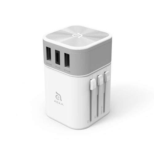 Adam Elements Omnia T3 Travel Adapter Universal Reiseadapter Ladegerät Zwei USB-A 2.4A EIN USB-C 3A Ports für Steckdosen US, UK, EU, AU-Standards Weiss