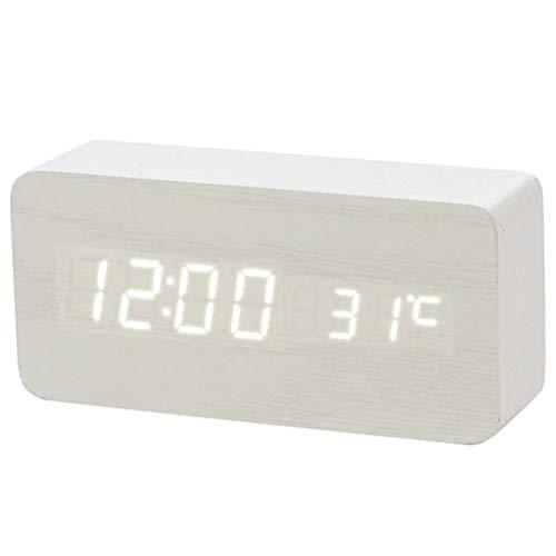High song Despertador Control De Sonido Multicolor Madera Madera Cuadrado LED Reloj Despertador Mesa De Escritorio Termómetro Digital Madera USB/AAA Pantalla De Fecha (Color : B11)