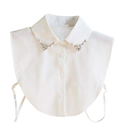 Hocaies Frauen Kragen Vintage Elegante Abnehmbare Hälfte Shirt Bluse Cotton Kragen Weiß Damen Blusenkragen (Chiffon Perle Strass)