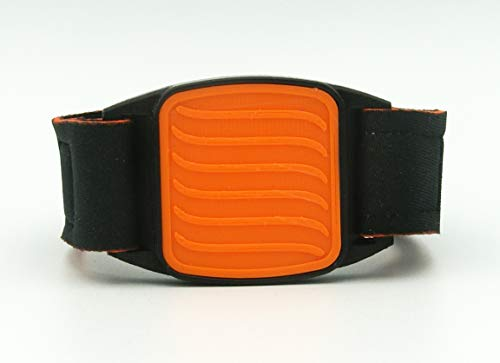 Brazalete protector para Freestyle Libre Sensor, estilo deportivo – diseño ondulado (naranja y negro)