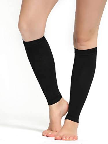 Buttons Pleats Calf Compression Sleeve for Women Men Footless Leg Sleeves Socks Boosts Circulation product image
