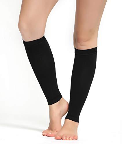 Buttons & Pleats Calf Compression Sleeve for Women & Men - Footless Leg Sleeves Socks - Boosts Circulation - Reduces Fatigue - Eases Shin Splints 1 Pair Black L/XL