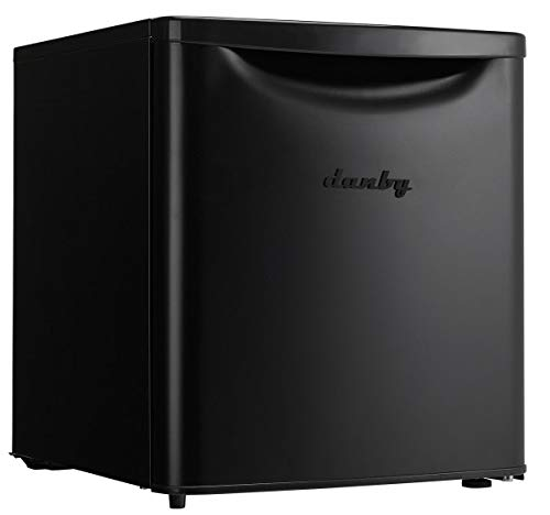 Danby Contemporary Classic DAR017A3BDB-6 1.7 Cu.Ft. Mini Fridge, Countertop Compact Refrigerator for Bedroom, Office, Desk-E-Star Rated, in Matte Black