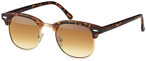 UVprotect retro Horn Optik Design Sonnenbrille - UV400 (Verlaufsglas Havana3)
