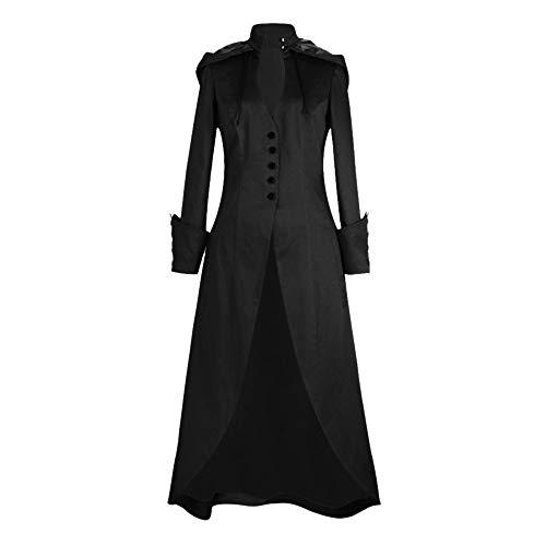 Femme Gothique Déguisement Robe Manteau Longue Bouton Trench Élégant Smoking Steampunk Vintage Hiver Cardigan Chic Parka Veste à Capuche Manches Longues Outwear