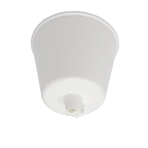 Baldaquino blanco brillante plástico con tornillo de bloqueo para cable de lámpara, diámetro de 92 mm, altura de 70 mm