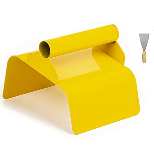 """Landscape Curb Trowel Concrete Curb Tools 4"""" x 6"""" x 4"""" Steel Slope Slant Trowel Yellow Cement Model Tool with Handle and Putty Knife"""