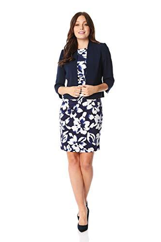 Roman Originals Women Tailored Rochette Bolero Suit Jacket - Ladies Shrug Work Formal Wedding Mother of The Bride Crepe Crop Stretch Cover Up 3/4 Sleeve Slimming Blazer - Navy Blue - Size 10