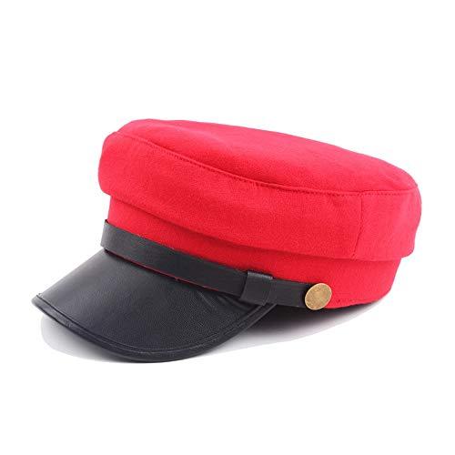 GAOERJI Freizeit Metallschnalle einfarbig Wollmütze Baskenmütze Mütze flach dunkelblauer Hut Herbst Winter starker Sonnenschutz Militärmütze Street Style Baskenmütze (Farbe : Rot, Größe : 56-58CM)