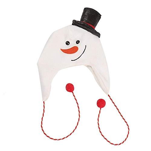 WXDP Bufanda de otoño e Invierno,Sombrero de Navidad para Eventos Festival Tela de Franela espesante Muñeco de Nieve Creativo Sombrero Decoración Suministros de Navidad, Blanco