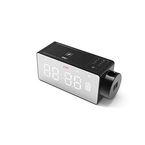 Proyección De Carga Inalámbrica Reloj Digital Altavoz Bluetooth Led Reloj Despertador De Pantalla Grande Snooze FM DIY Relojes De Mesa De Música De Alarma Negro