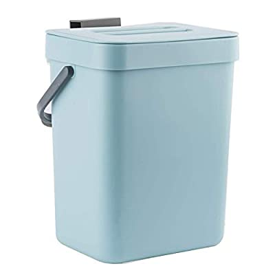 LALASTAR Small Trash Can with Lid, Odorless Mini Trash Can, Plastic Hanging Waste Basket for RV/Office/Bedroom/Dorm, 3L/0.8 Gal, Blue by LALASTAR
