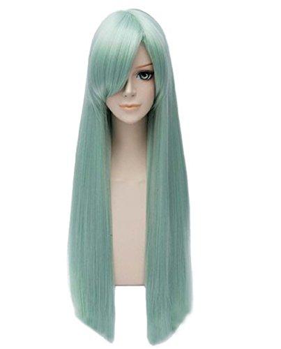 etruke Long Parti Vert droite lumière cosplay perruques