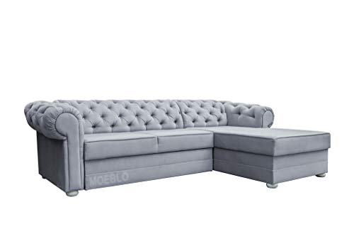 MOEBLO Chesterfield Ecksofa ohne Schlaffunktion Sofa Couch Garnitur Stoff Samt (Velour) Glamour Wohnlandschaft - Avia (Hellgrau, Ecksofa Rechts)