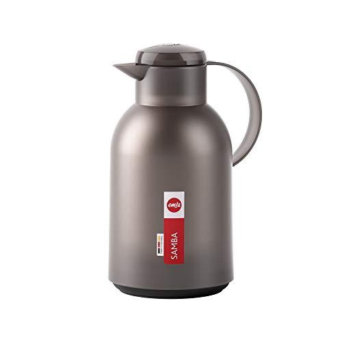 Emsa N4012200 Samba Isolierkanne (1,5 Liter, Quick Press Verschluss, 12h heiß und 24h kalt) Transluzent/Taupe