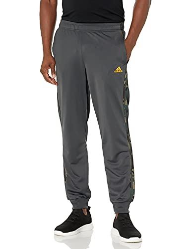 adidas Men's Standard Warm-up Tricot Tapered Camo Track Pant, Solid Grey, Small