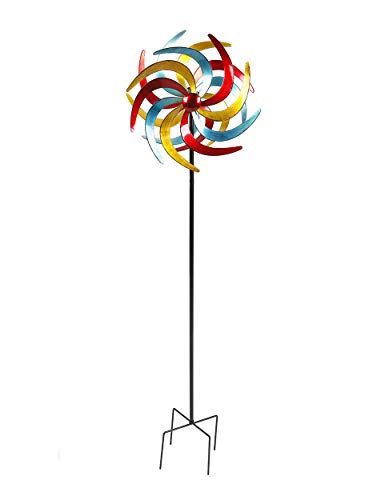 Spetebo Metall Windrad bunt - Ø 38 cm/Höhe 140 cm - Deko Windspiel Windmühle Gartenstecker