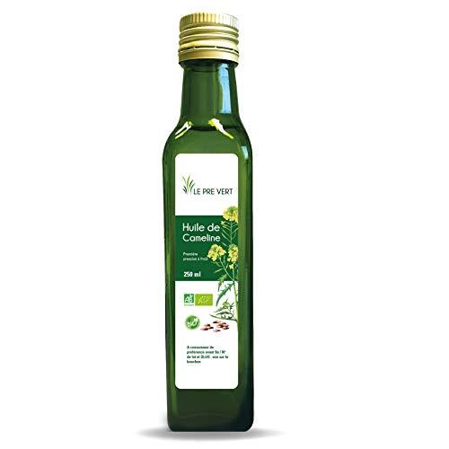 Huile de cameline BIO - Alimentaire - Vierge Extraite à froid - 250 ml - Fabriquée en France - Le Pré Vert