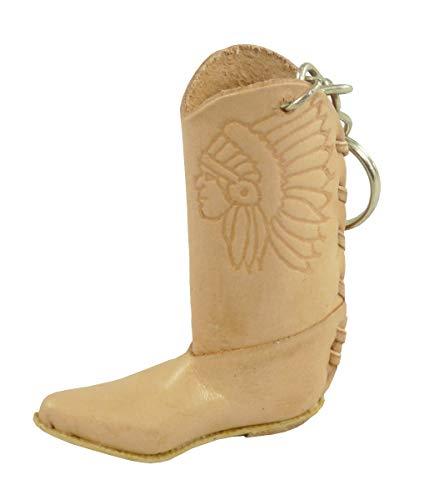 Rodeo Ready Schlüsselanhänger Cowboystiefel Westernstiefel Cowboy Boots aus Leder Western Cowboy Leder Schlüsselring Taschenanhänger Keychain - Handarbeit versch. Farben (beige)