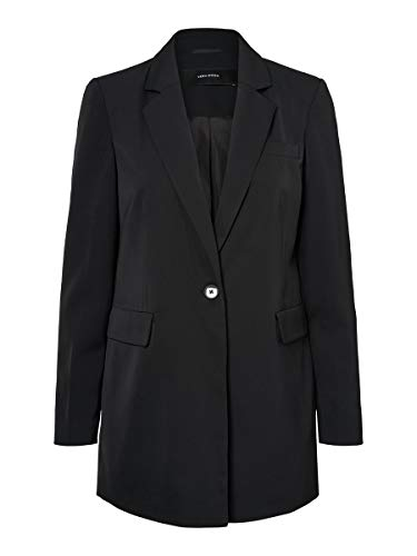 VERO MODA Damen VMDOLORES L/S Long Blazer TLR KI Anzugjacke, Schwarz (Black Black), (Herstellergröße: 38)
