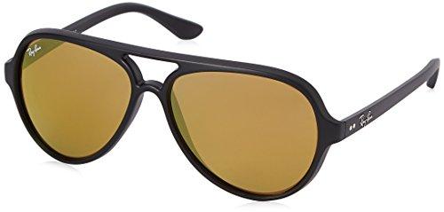 Ray-Ban Junior Herren Cats 5000 Sonnenbrille, Schwarz (Matte Black/Brown Mirror Gold), (Herstellergröße: One Size)