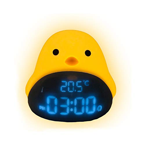 Reloj Despertador LED para Pájaros, Luz Nocturna con Pantalla de Temperatura Y Hora, Brillo Ajustable, Protección Ocular Sin Parpadeo, Función Temporizador Luz Cálida, Fabuloso Regalo Ideal