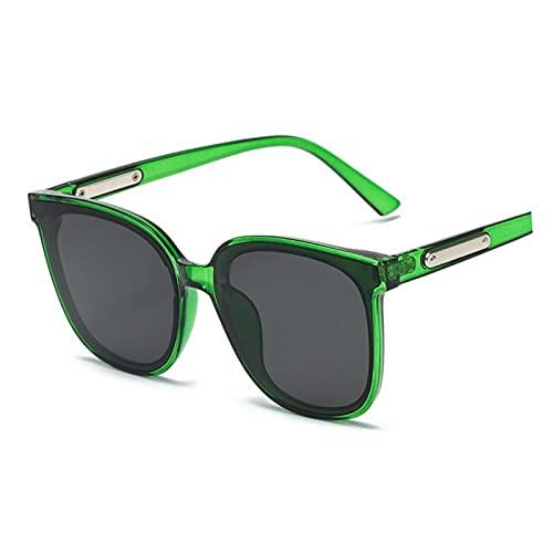 XINMAN Gafas De Sol A Prueba De Viento De Moda Gafas Especiales De Conducción para Hombres Tendencia Personalidad Gafas De Sombrilla Marco Verde Transparente Negro Película Gris