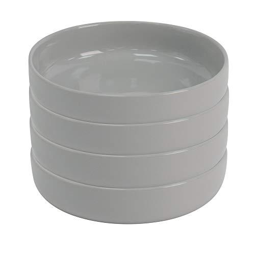 ProCook Stockholm - Vaisselle de Table en Grès - Assiette Creuse à Pâtes - Style Scandinave - 4 Pièces - 19cm - Gris Clair