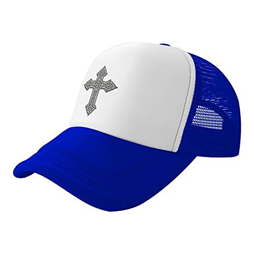 Celtic Cross Knot Irish Trucker Mesh Hats for Men and Women,Summer Mesh Sandwich Cap Dad Hats Baseball Hat Blue