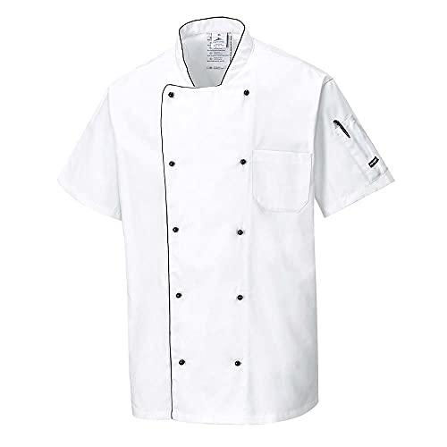Portwest C676 - Chaqueta aireado Chef, color Blanco, talla XL