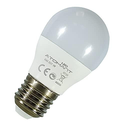 Pack 10x Bombilla LED G45 9w. Color Blanco Frio (6500K). 800 lumenes. Rosca E27 (Rosca Gorda). A++