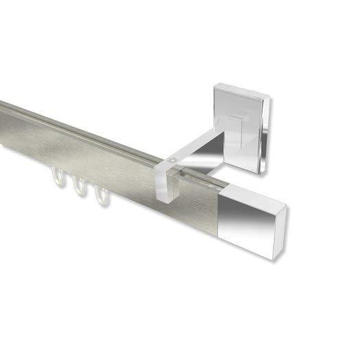 INTERDECO Innenlauf-Gardinenstange/Innenlaufstange eckig Edelstahl Optik/Chrom Smartline Lox, 100 cm