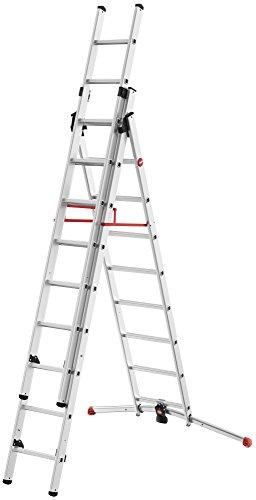 Hailo 9309-507 - Escalera Aluminio combinada 3 tramos con estabilizador Curvo ProfiLOT Combi (2x9 1x8 peldaños)