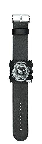S.T.A.M.P.S. Stamps Uhr komplett - Zifferblatt Mystic Garden mit schwarzem Lederarmband