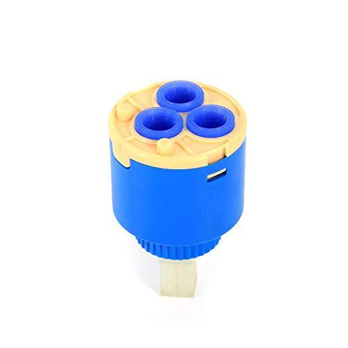 Omabeta Cartucho de Disco de cerámica de 35/40mm, Mezclador de Agua, válvula de Grifo de Control Interno para Grifo, reemplazo de Pieza, plástico PP, Azul, práctico y Duradero(35mm)