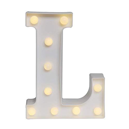 DUBENS LED-Licht Brief Ziffern Lampe Alphabet Buchstabe Nachtlichter (A-Z,0-9) Dekorativer Beleuchtung Lichter, für Geburtstag Party Hochzeit Empfänge Ferienhaus Bar (L)