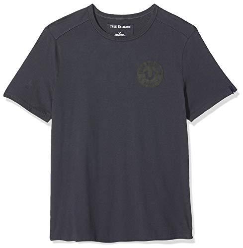 True Religion Crew T Shirt Multilogo Camiseta, Gris (Ebony