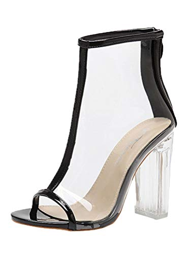 Tomwell High Heels Sandaletten Damen Stiletto Schuhe Transparente Peep Toe Sommer Sandalen Party Freizeit A Schwarz 40 EU